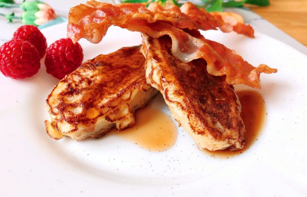 Lowcarb Frenchtoast mit Zimt und Bacon