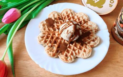Protein Joghurt Waffeln mit Eiscreme