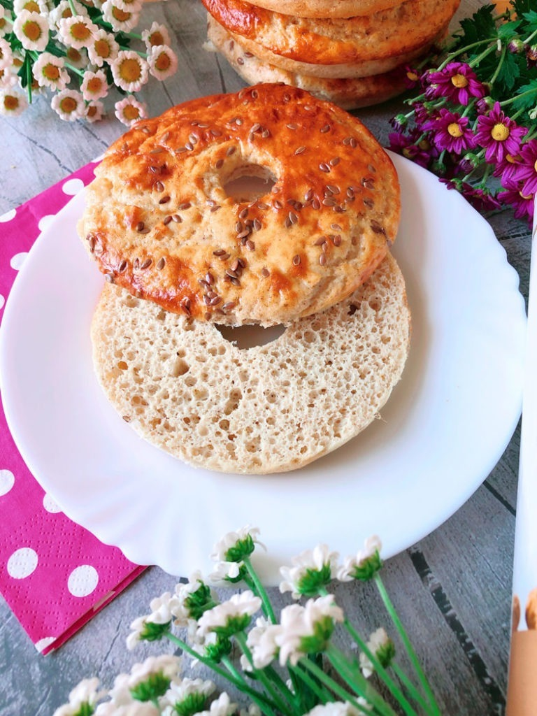 eiweiss bagels rezept mit erdmandeln