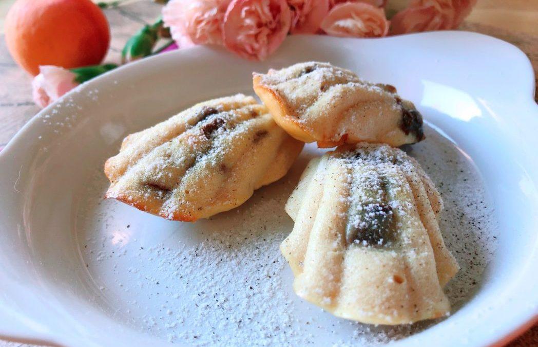 Protein Madeleines mit Aprikose und Schokolade