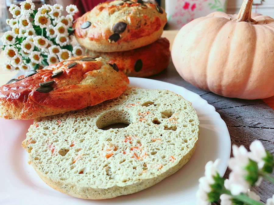 Kürbis Protein Bagels