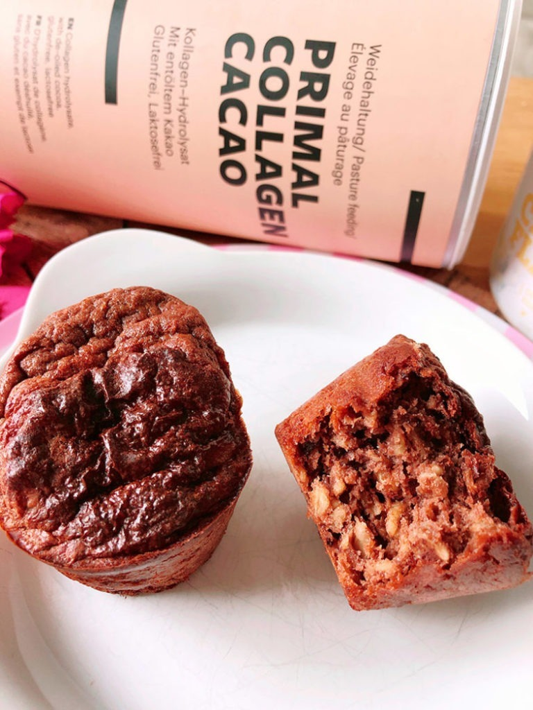kakao bananen proteinmuffins mit kollagen