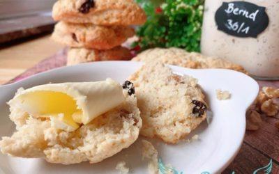 Walnuss Kirsch Scones – Auffrischrezept Sauerteig